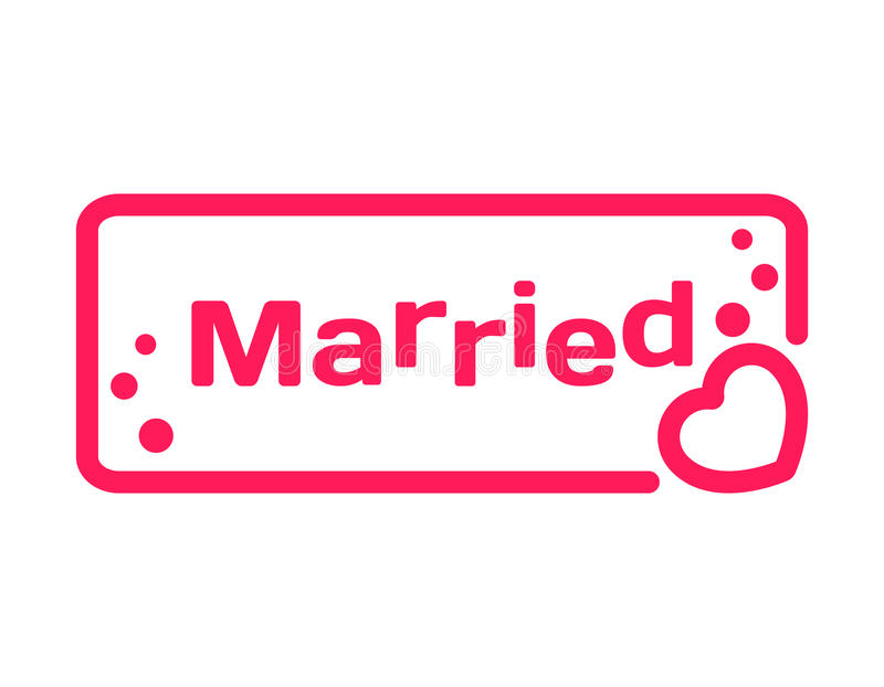 Married badge with heart icon flat on white background wedding download married badge with heart icon flat on white background wedding theme in dialog bubble junglespirit Choice Image
