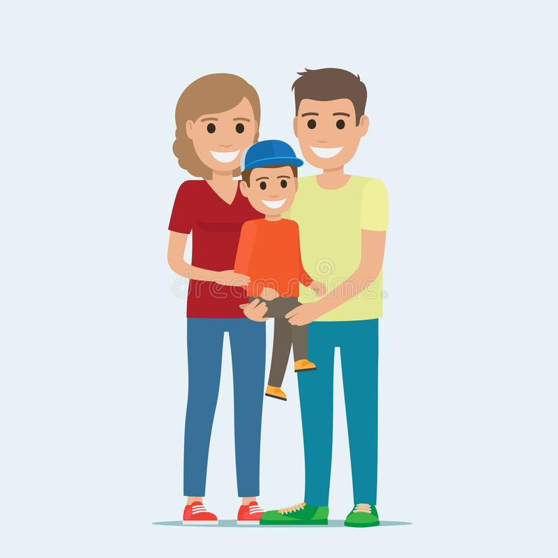 Married Couple in Casual Cloth and Son on Hands. Married couple in casual cloth and little son on hands. Mother and father holding child hugging. Smiling vector illustration