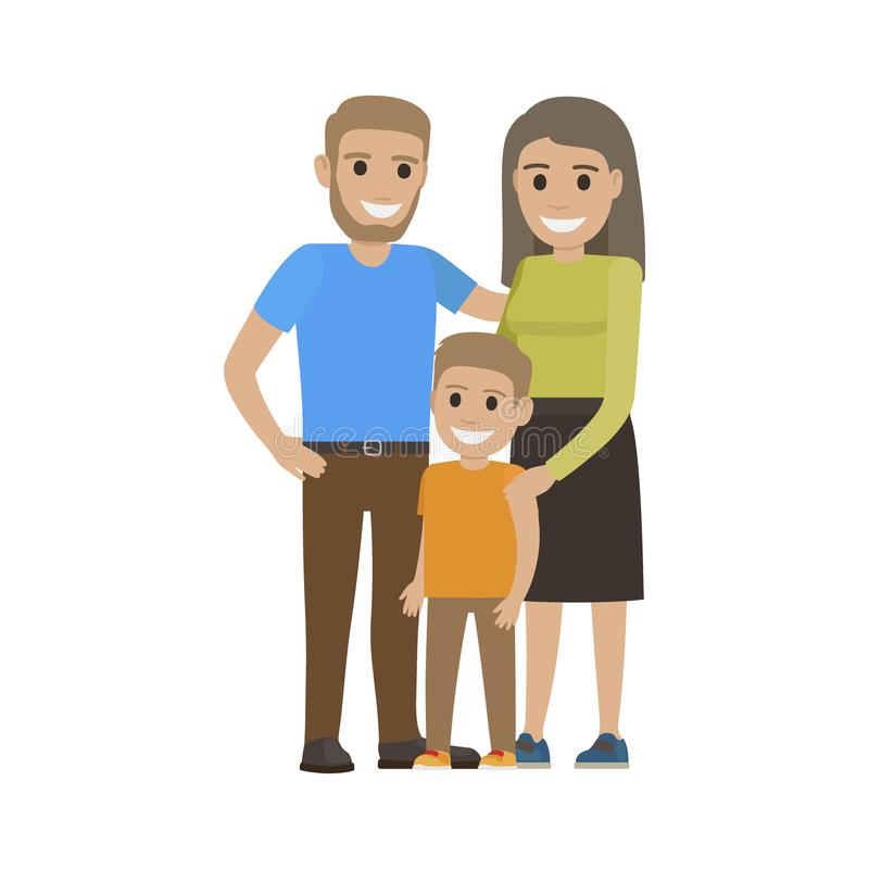 Married Couple in Casual Cloth and Little Son. Family going to spend free time together. Smiling parents and boy isolated. Man woman and child on white royalty free illustration
