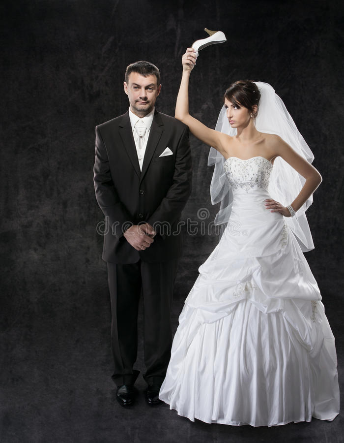Married couple conflict. Bad relationships royalty free stock images
