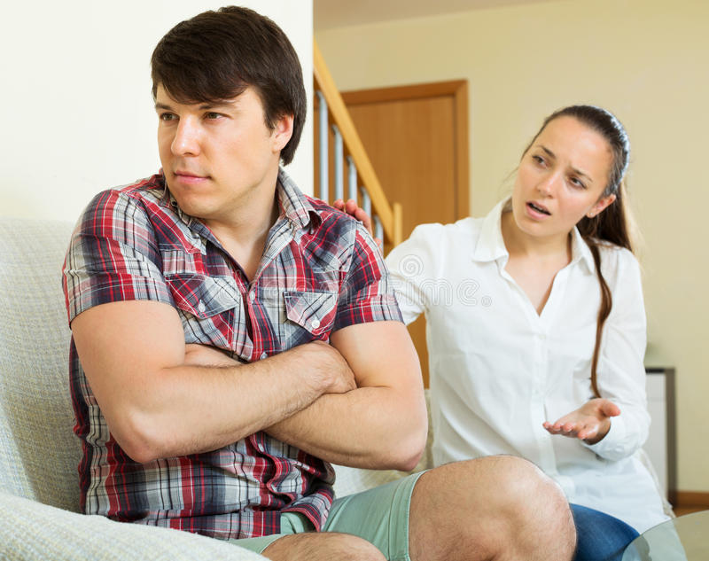 Married couple having quarrel royalty free stock image