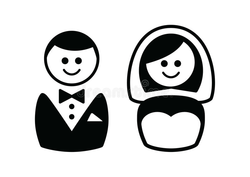 Married Couple Icons - Groom And Bride Stock Photos