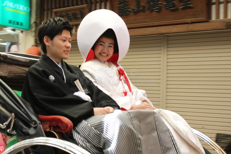Married Couple in Miyajima - Japan. Married Couple in Miyajima Island - Japan royalty free stock image