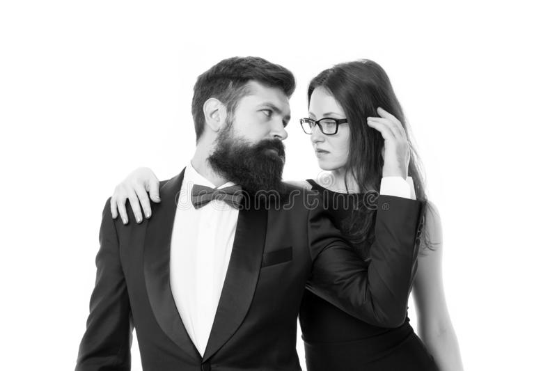 Married couple romantic date. Cuddling with darling. Tender hug. Man and woman elegant dressed ready for night out stock photos