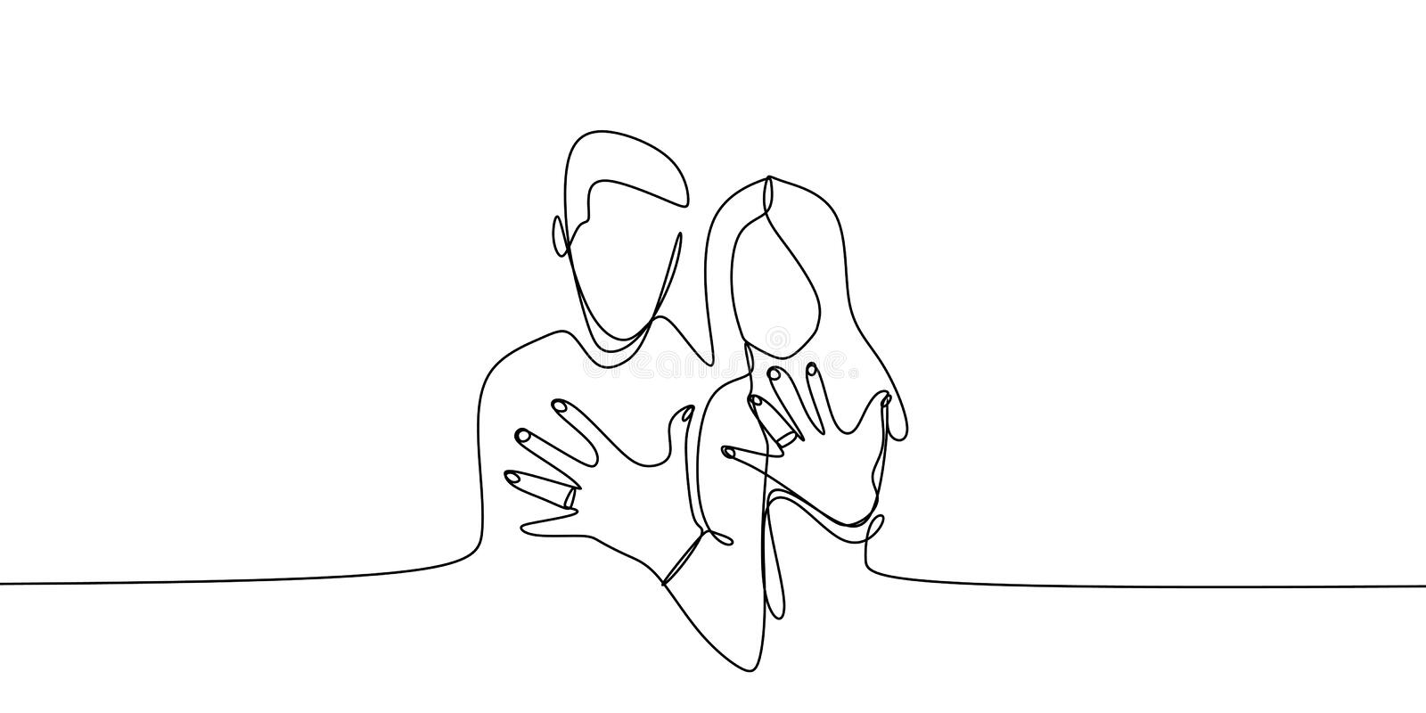 Married couple showing his and her ring after wedding with continuous single one line art drawing vector vector illustration
