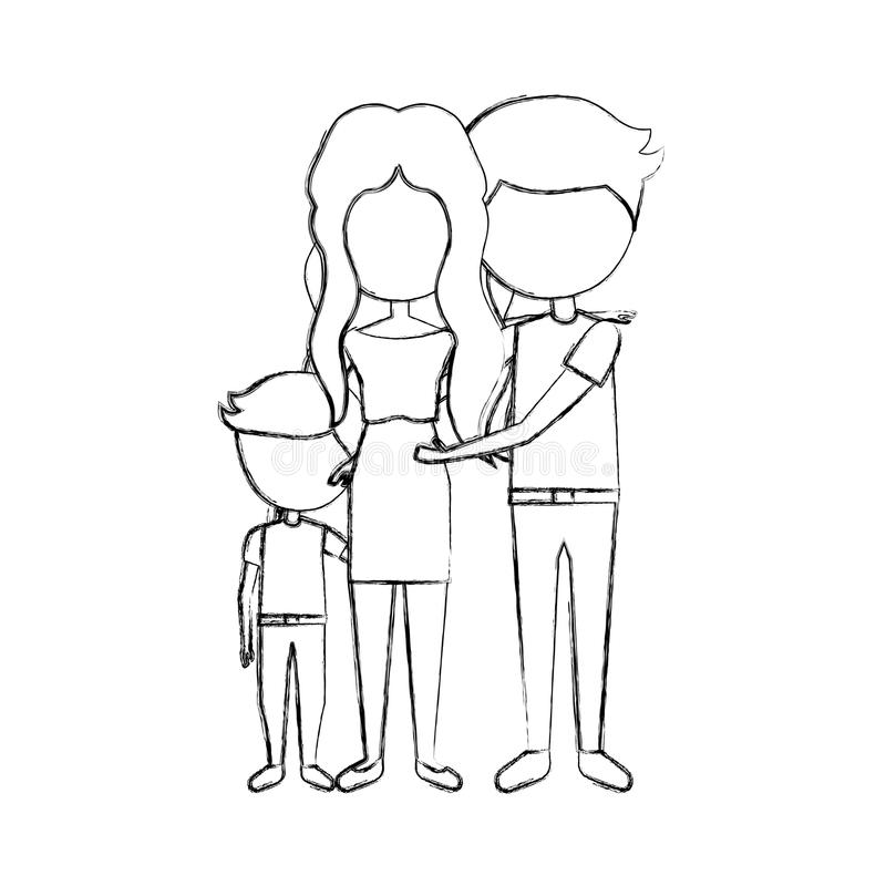 Married couple with son. Vector illustration design royalty free illustration