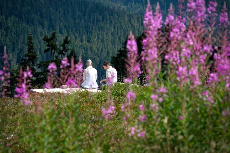 Married couple on vacation sitting among wildflowers having lunch on warm summer day. royalty free stock photography
