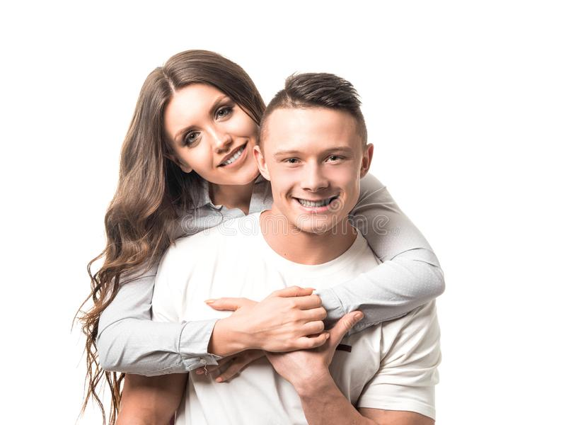Married couple. Woman holding man and looking at camera. Couple goal, happiness, feature, dream and female health stock image
