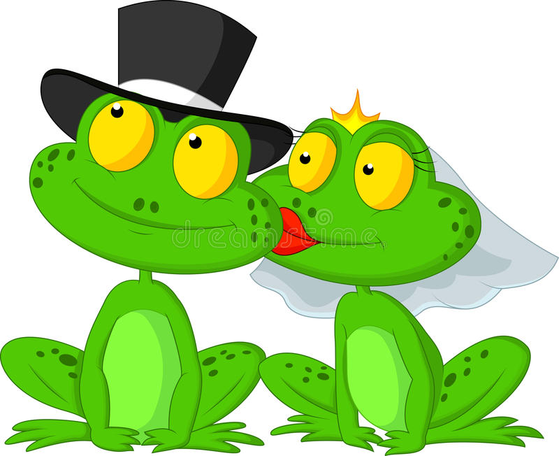 Married frog cartoon kissing royalty free illustration
