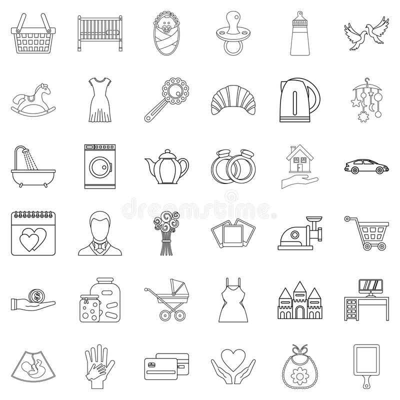 Married life icons set, outline style. Married life icons set. Outline set of 36 married life vector icons for web isolated on white background stock illustration