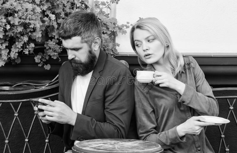 Married lovely couple relaxing together. Couple cafe terrace drink coffee. Couple in love sit cafe terrace enjoy coffee royalty free stock images