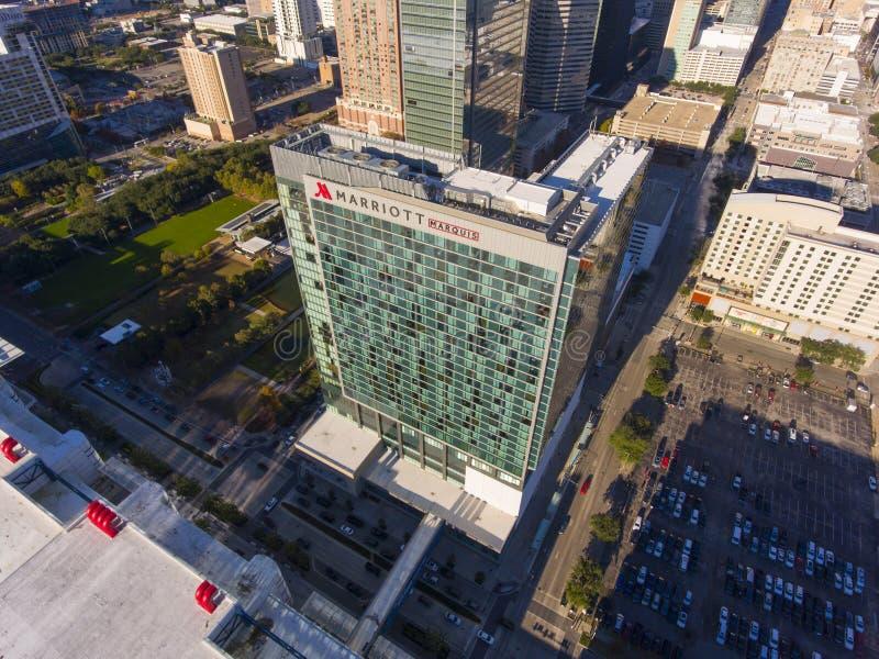 Marriott markiza Houston widok z lotu ptaka, Houston, Teksas, usa zdjęcie royalty free