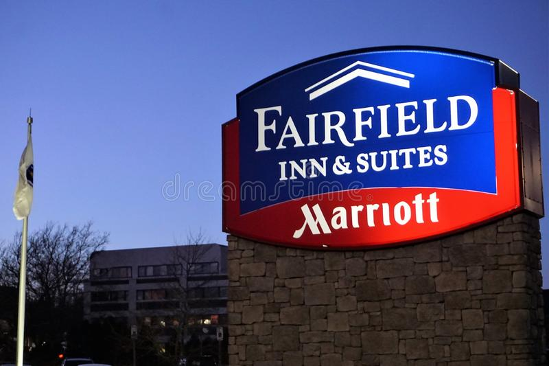 Fairfield Inn & Suites Marriott sign in New Bedford royalty free stock images
