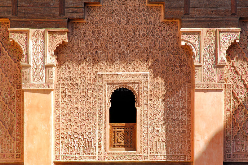 Marrocos, C4marraquexe: Madrasa de Ben Youssef imagem de stock royalty free