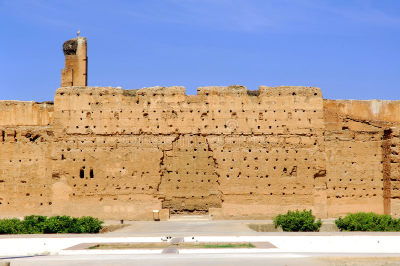 Marrocos, C4marraquexe: Palácio de Badi imagem de stock