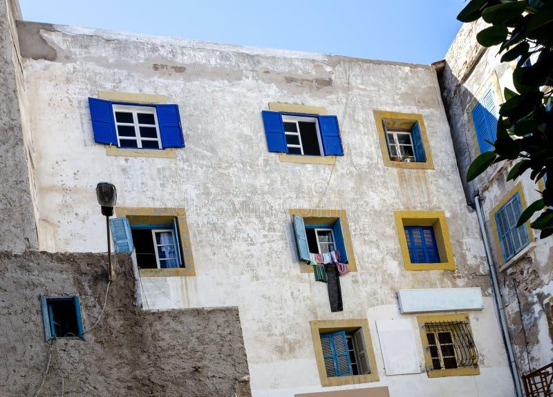 Marrocos de surpresa, Essaouira incrível, medina, a parede da casa, fotografia de stock