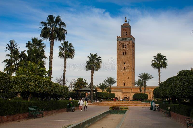 marrocos Mesquita de Koutoubia em C4marraquexe imagens de stock royalty free