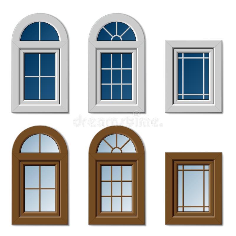 Marrom branco das janelas plásticas ilustração stock