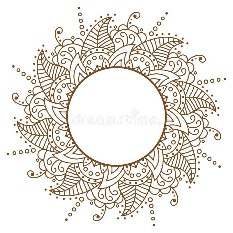 Marrom a céu aberto de pano do vetor Frame redondo Vetor f do teste padrão de Brown ilustração stock