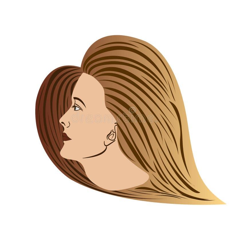 Marrom da Lado-vista da mulher ilustração stock