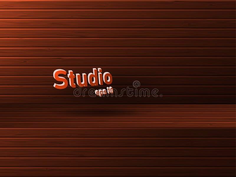 Marrom de madeira vazio do estúdio com um tinge e um rebaixo vermelhos Espa?o livre para a apresenta??o do produto ilustração do vetor