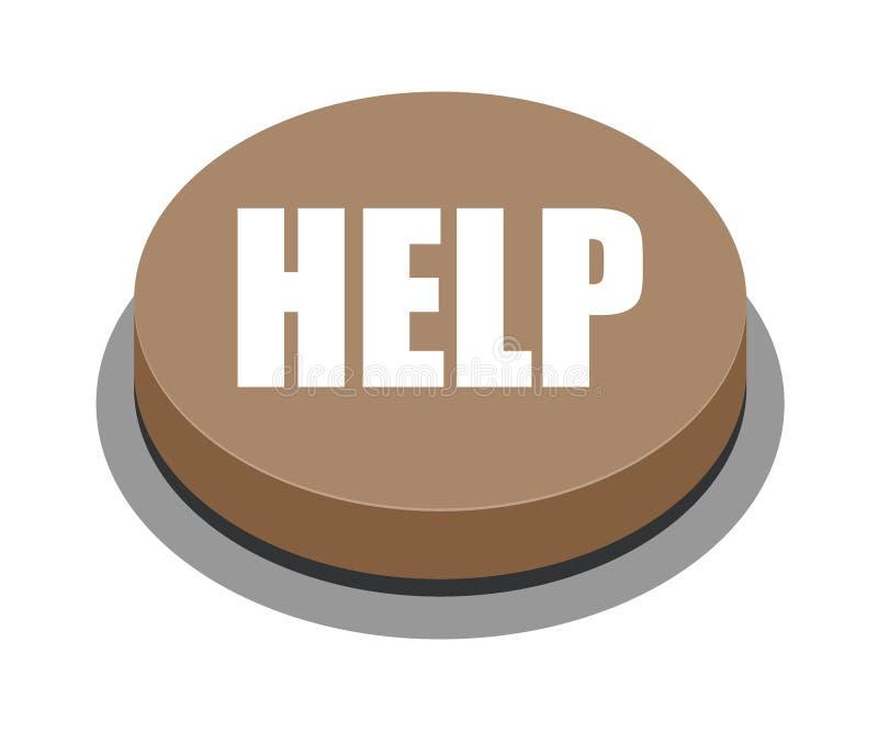 Marrom do botão da ajuda ilustração do vetor