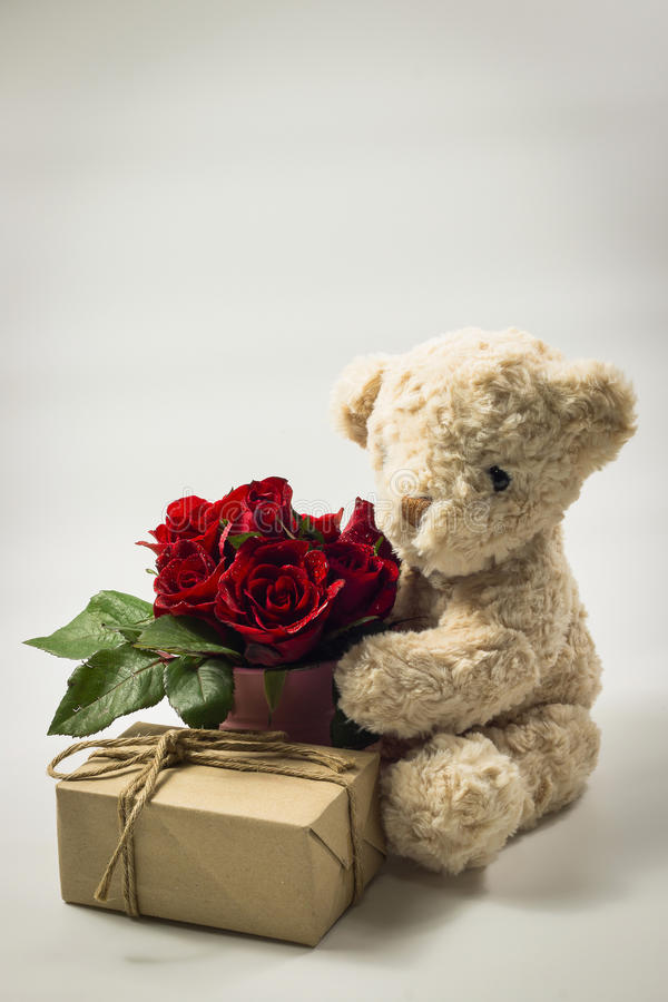 Marrom do urso de peluche com os potenciômetros da caixa de presente e do metal fotografia de stock royalty free