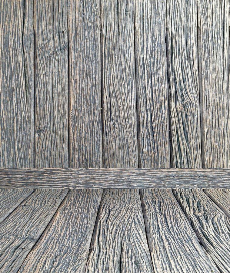 Marrom escuro de madeira do projeto do assoalho de madeira da parede da textura do vintage do papel de parede do fundo da sala foto de stock