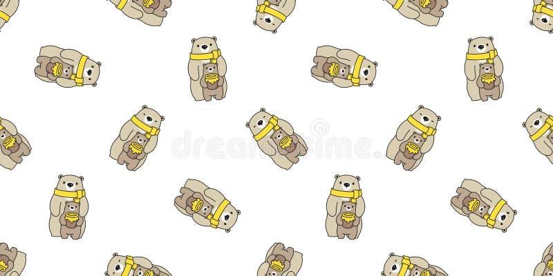 Marrom isolado da ilustração do fundo da telha do papel de parede da repetição dos desenhos animados da família do urso polar do  ilustração do vetor