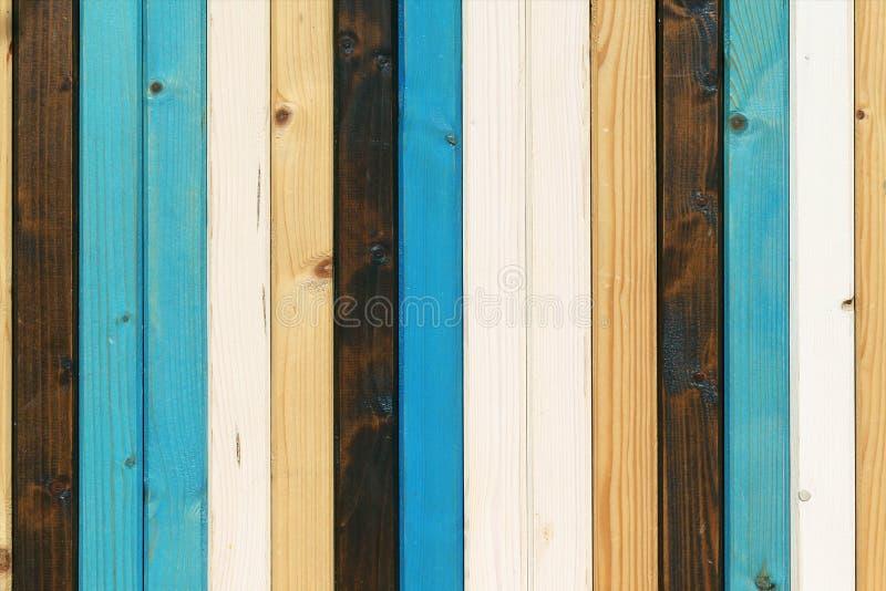 Marrone blu bianco delle plance di legno, fondo molto piacevole fotografia stock