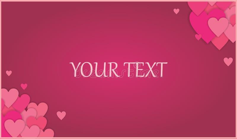 Marrone rossiccio - fondo rosa di amore dei cuori di schema con la funzione del testo royalty illustrazione gratis