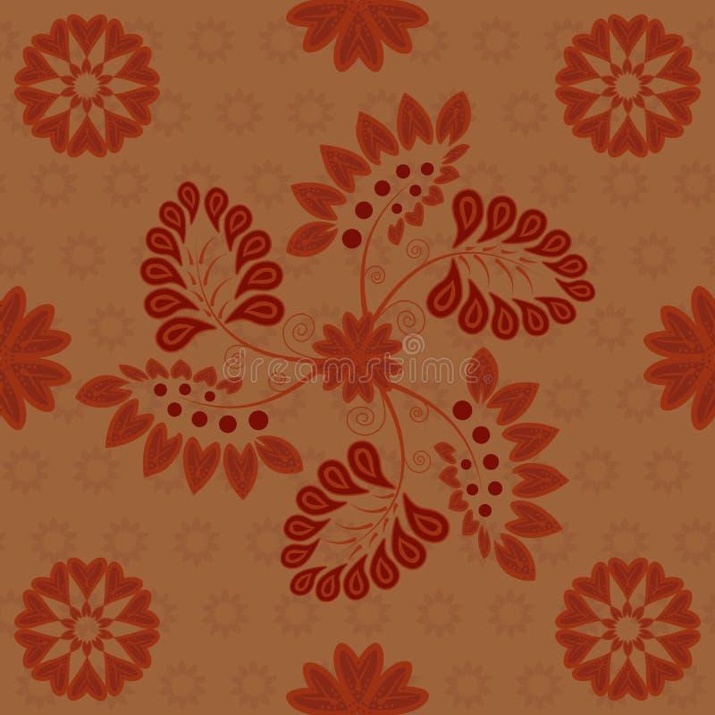 Marrone rossiccio rosso scuro del modello senza cuciture indiano su fondo di rame royalty illustrazione gratis