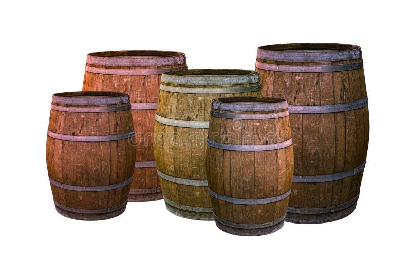 Marrone scuro del barilotto della quercia con la base di progettazione della cantina dell'insieme degli anelli del metallo sul wh immagini stock libere da diritti