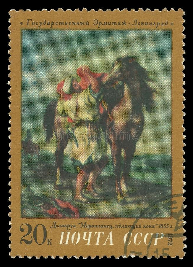 Marroquino que sela um cavalo por Eugene Delacroix fotografia de stock royalty free