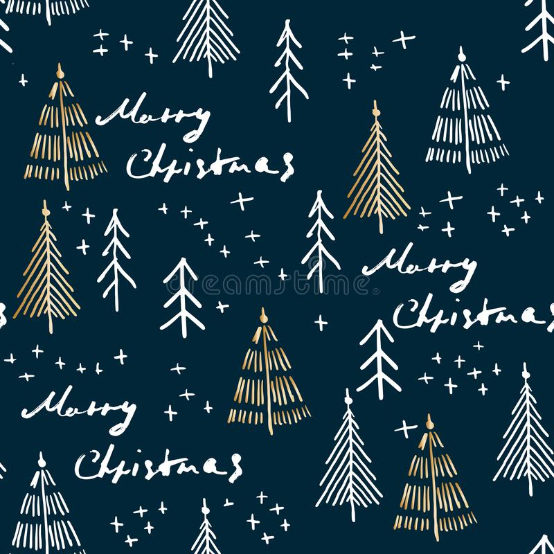 Merry Christmas and christmas tree seamless pattern handdrawn vector illustration