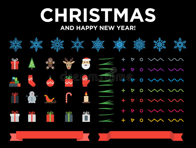 Marry Christmas and Happy New Year modern material design elements with snowflakes, icons, pine needles, red ribbons vector illustration