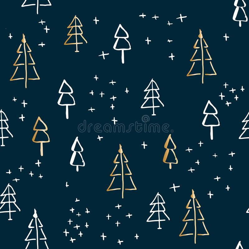 Marry Christmas and christmas tree pattern, vector hand-drawing graphics royalty free illustration