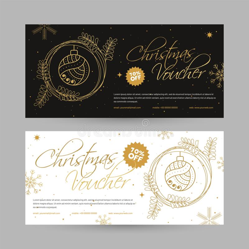 Marry Christmas Voucher design with 10% discount offer, Christmas Ornaments decorated coupon in two color option. vector illustration