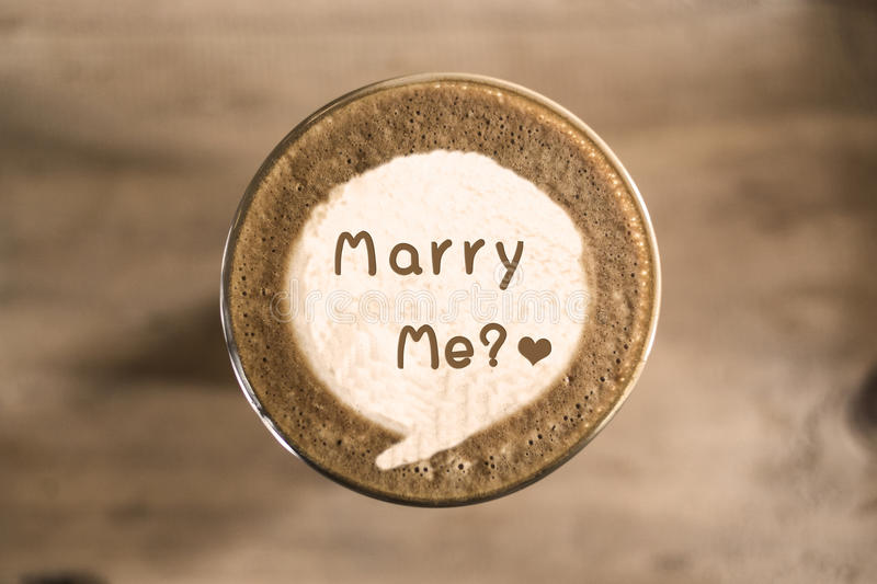 Marry me. On Coffee latte art concept royalty free stock photos