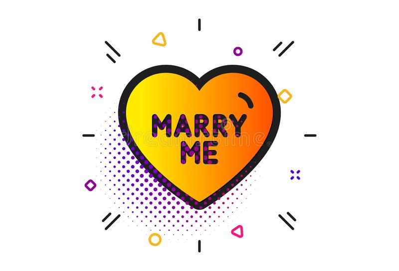 Marry me icon. Sweet heart sign. Wedding love. Vector. Sweet heart sign. Halftone circles pattern. Marry me icon. Wedding love symbol. Classic flat marry me icon stock illustration