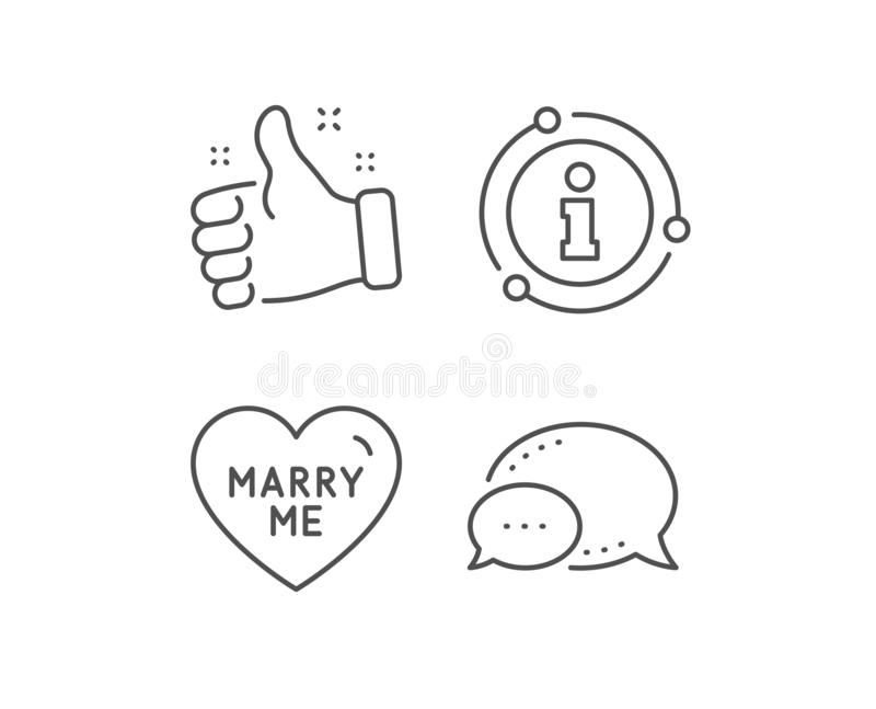 Marry me line icon. Sweet heart sign. Wedding love. Vector. Marry me line icon. Chat bubble, info sign elements. Sweet heart sign. Wedding love symbol. Linear vector illustration