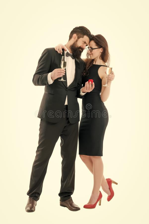 Marry me. Their special day. Family celebrate holiday. Happy holiday celebration. Wedding and proposal concept. Handsome. Men and elegant women hold champagne royalty free stock photos