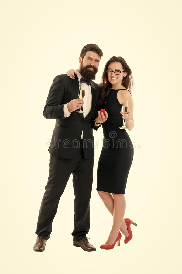 Marry me. Their special day. Happy holiday celebration. Wedding and proposal concept. Handsome man and elegant woman. Marry me. Their special day. Happy holiday royalty free stock images