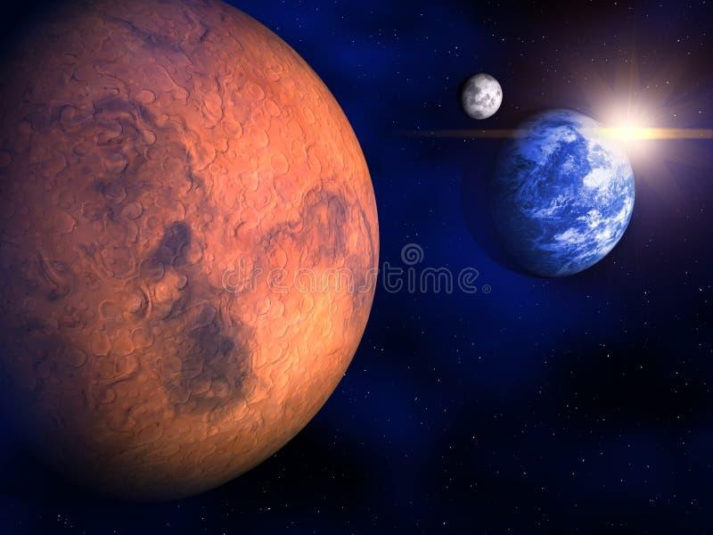 Mars, Aarde en de Maan stock illustratie