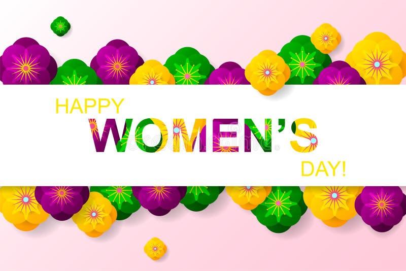 8 mars affiche créative avec les fleurs vertes, roses, pourpres du Cu illustration libre de droits