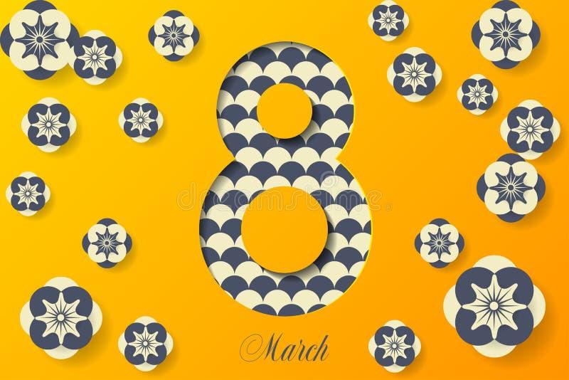 8 mars affiche créative sur le fond jaune Wome international illustration libre de droits