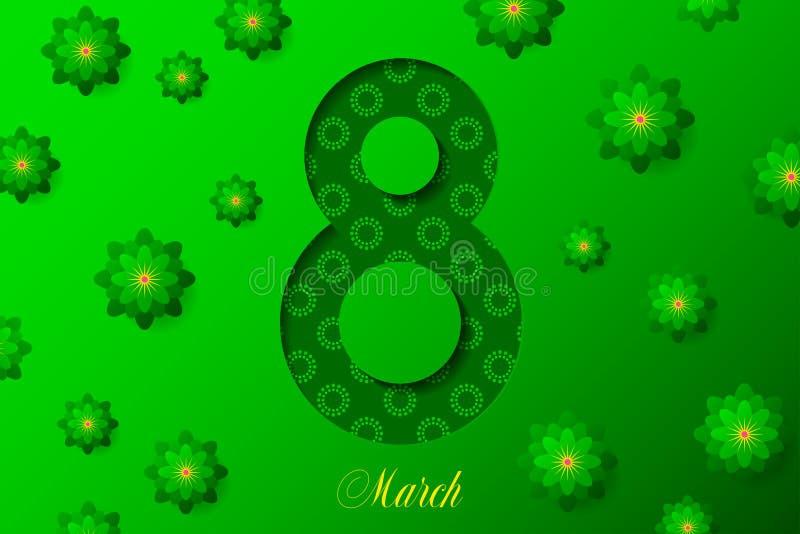 8 mars affiche créative sur le fond vert Configuration florale interne illustration stock