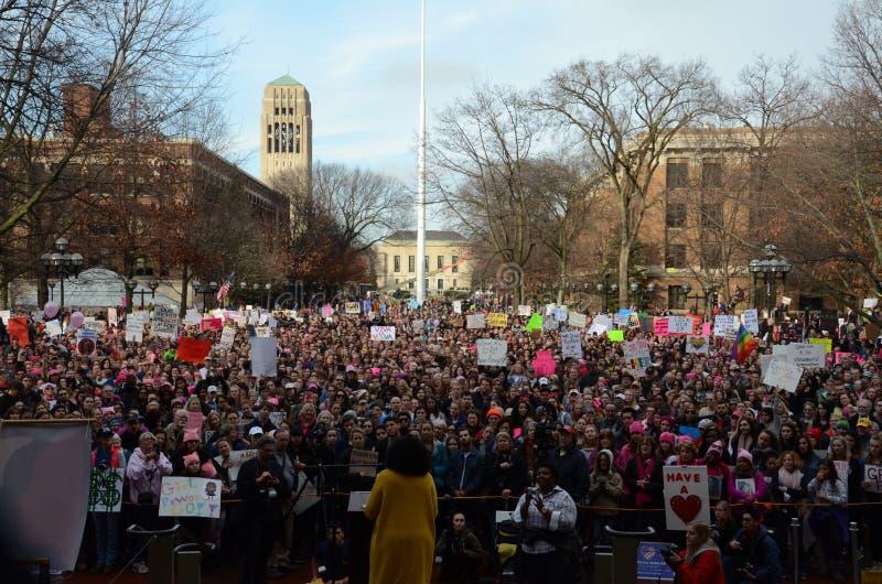 Mars Ann Arbor 2017 för kvinna` s royaltyfri bild