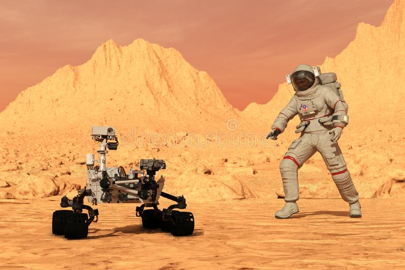 Mars Astronaut, Rover, Exploration, Planet, Science. An astronaut explores the alien planet Mars with a science robot rover. The red world has been visited by stock photo
