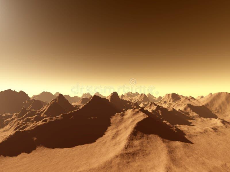 Mars - au-dessus des montagnes illustration de vecteur